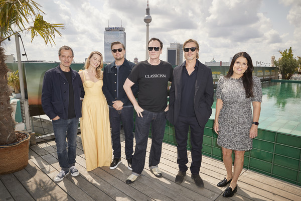 'Once Upon A Time... In Hollywood' Press Junket At Soho House [once upon a time,press junket,people,social group,event,fun,tree,vacation,team,photography,family,tourism,brad pitt,quentin tarantino,leonardo dicaprio,l-r,hollywood,berlin,soho house,press junket]