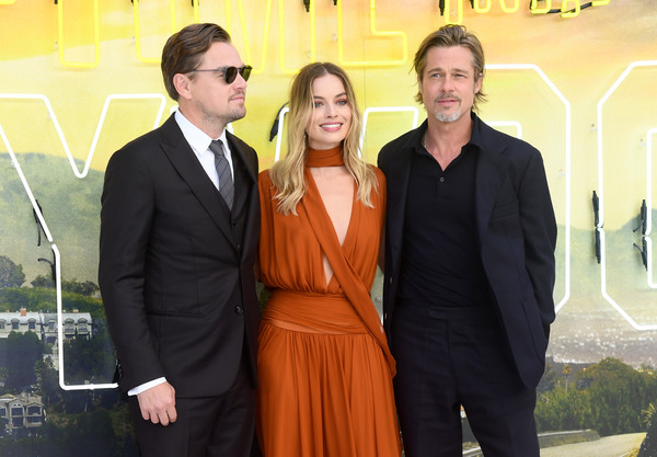'Once Upon a Time in Hollywood'  UK Premiere - Red Carpet Arrivals [once upon a time... in hollywood,event,suit,formal wear,tuxedo,white-collar worker,red carpet arrivals,brad pitt,margot robbie,leonardo dicaprio,uk,odeon luxe leicester square,england,london,premiere]