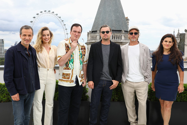 'Once Upon A Time In Hollywood' London Photocall [london photocall,social group,event,tourism,team,white-collar worker,architecture,temple,travel,brad pitt,leonardo dicaprio,quentin tarantino,david heyman,margot robbie,once upon a time...in hollywood,l-r,once upon a time\u00e2,london]