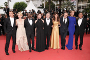 "(L-R) Jury Members Jude Law,Linn Ullmann,Mahamat-Saleh Haroun,Nansun Shi, Jury President Robert De Niro,Martina Gusman,Olivier Assayas,Uma Thurman,Johnnie To attend the ""Les Bien-Aimes"" premiere at the Palais des Festivals during the 64th Cannes Film Festival on May 22, 2011 in Cannes, France."