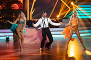 "(L-R) Regina Luca, Benjamin Piwko and Isabel Edvardsson perform on stage during the 10th show of the 12th season of the television competition ""Let's Dance"" on May 31, 2019 in Cologne, Germany."