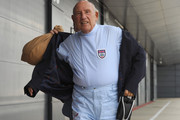 Sir Stirling Moss arrives at Silverstone Circuit on May 31, 2013 in Northampton, England.