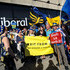 """Anti-Brexit protesters demonstrate outside the Liberal Democrat Party Conference at the Brighton Centre on September 16, 2018 in Brighton, England. Sir Vince Cable has announced that he plans to step down """"once Brexit is resolved or stopped""""."""