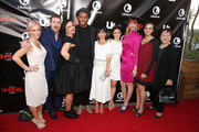 "(L-R) Executive producer Marti Noxon, actor Josh Kelly, executive producer Sarah Gertrude Shapiro, actor Jeffrey Bowyer-Chapman, actress Constance Zimmer, actress Shiri Appleby, actress Breeda Wool, actress Aline Elasmer and actress Amy Hill attend the Lifetime and US Weekly's Premiere Event for New Drama ""UnREAL"" at The SIXTY Beverly Hills on May 20, 2015 in Beverly Hills, California."