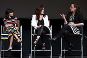 (L-R) Actor Constance Zimmer, producer Stacy Rukeyser, and writer Sarah Gertrude Shapiro attend Lifetime's Emmy FYC Event at Wolf Theatre on May 16, 2017 in North Hollywood, California.