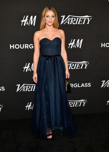 Variety's Annual Power Of Young Hollywood - Arrivals [dress,clothing,shoulder,strapless dress,gown,cocktail dress,a-line,hairstyle,fashion,premiere,variety,annual power of young hollywood - arrivals,power,young hollywood,west hollywood,california,sunset tower hotel,lili reinhart]