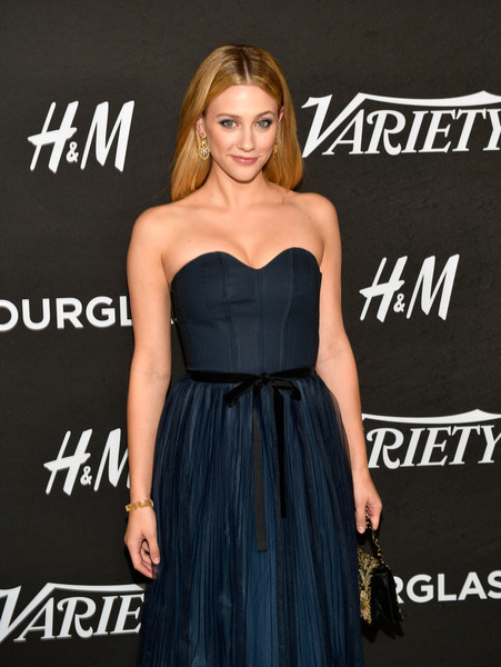 Variety's Annual Power Of Young Hollywood - Arrivals [dress,clothing,strapless dress,shoulder,cocktail dress,hairstyle,premiere,little black dress,a-line,blond,variety,annual power of young hollywood - arrivals,power,young hollywood,west hollywood,california,sunset tower hotel,lili reinhart]