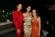 Adriana Lima, Lily Aldridge, and guest pose for a photo during the Lily Aldridge parfums launch event at The Bowery Terrace at the Bowery Hotel on September 08, 2019 in New York City.