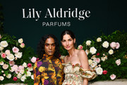 Richie Shazam and Lily Aldridge pose for a photo during the Lily Aldridge parfums launch event at The Bowery Terrace at the Bowery Hotel on September 08, 2019 in New York City.