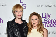 Songwriter Lissy Trullie (L) and actress Natasha Lyonne attend LilySarahGrace Presents Color Outside The Lines on October 25, 2014 in New York City.