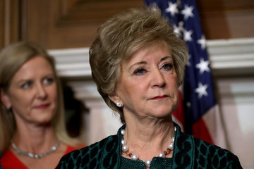 Linda McMahon Senate Majority Leader Mitch McConnell Leads Event on Capitol Hill Touting GOP Tax Plan's Benefits for Small Businesses