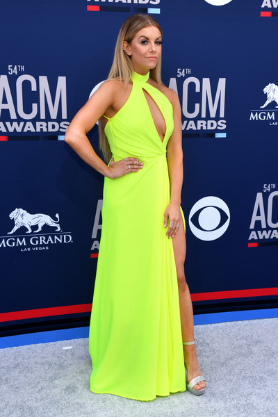 54th Academy Of Country Music Awards - Arrivals [clothing,dress,shoulder,red carpet,carpet,yellow,hairstyle,premiere,joint,neck,arrivals,lindsay ell,mgm grand hotel casino,las vegas,nevada,academy of country music awards]