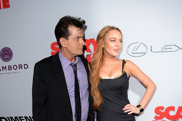 Lindsay Lohan Charlie Sheen Arrivals at the 'Scary Movie 5' Premiere 2