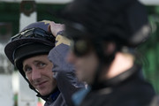 Paul Hanagan looks on at Lingfield racecourse on March 24, 2012 in Lingfield, England.