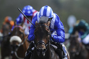 Paul Hanagan riding Ertijaal win The 32Red All-Weather 3YO Championships Conditions Stakes  at Lingfield racecourse on April 18, 2014 in Lingfield, England.