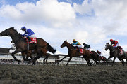 Paul Hanagan riding Ertijaal win The 32Red Spring Cup at Lingfield racecourse on March 22, 2014 in Lingfield, England.