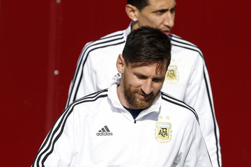 Lionel Messi Angel Di Maria Argentina Open training Session