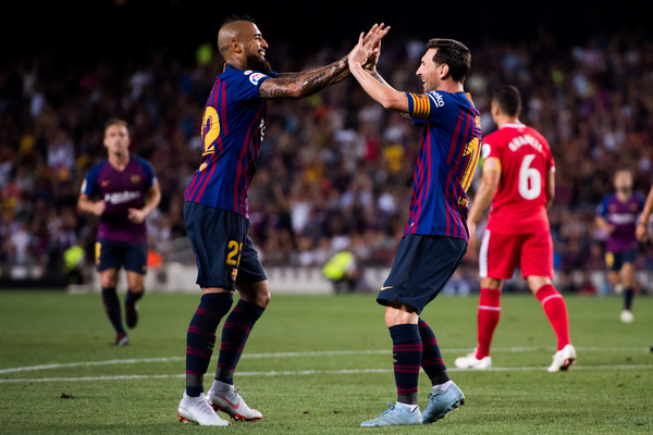 cc9fe4d99 Lionel Messi and Arturo Vidal Photos - 32 of 41. FC Barcelona vs. Girona FC  - La Liga