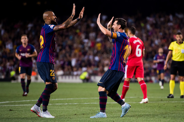 ed9e21388 Lionel Messi and Arturo Vidal Photos - 34 of 41. FC Barcelona vs. Girona FC  - La Liga