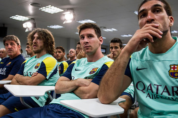 Lionel Messi Carles Puyol Tito Vilanova Press Conference