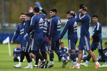 Lionel Messi Rodrigo De Paul Argentina Training Session And Press Conference
