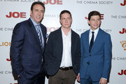 """(L-R) Actor Nicolas Cage, Filmmaker David Gordon Green, and Actor Tye Sheridan attend the """"Joe"""" screening hosted by Lionsgate and Roadside Attractions with The Cinema Society at Landmark Sunshine Cinema on April 9, 2014 in New York City."""