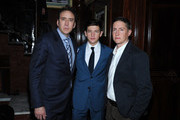 (L-R) Nicolas Cage, Tye Sheridan and David Gordon Green attend the 'Joe' screening hosted by Lionsgate And Roadside Attractions With The Cinema Society after party at Chalk Point Kitchen on April 9, 2014 in New York City.