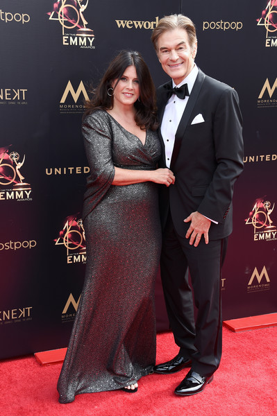 46th Annual Daytime Emmy Awards - Arrivals [red carpet,carpet,suit,premiere,formal wear,flooring,event,tuxedo,dress,arrivals,mehmet oz,lisa oz,pasadena civic center,california,daytime emmy awards]