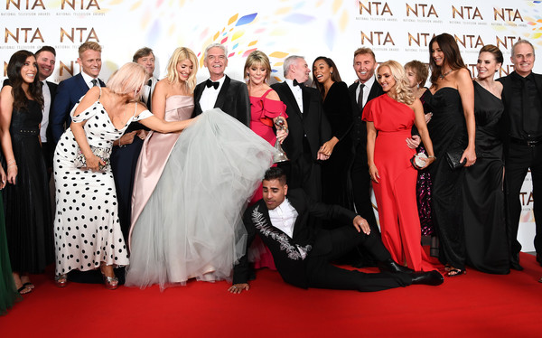 National Television Awards 2020 - Winners Room [this morning,red carpet,carpet,premiere,event,formal wear,dress,flooring,fashion,gown,ceremony,ranj singh,holly willoughby,cast,phillip schofield,lisa snowdon,rochelle humes,room,winners room,national television awards,holly willoughby,phillip schofield,eamonn holmes,ruth langsford,amanda holden,this morning,national television awards,television,television presenter,photography]