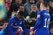 Ademola Lookman of Everton replaces Wayne Rooney of Everton as a substitute during the Emirates FA Cup Third Round match between Liverpool and Everton at Anfield on January 5, 2018 in Liverpool, England.