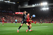 Trent Alexander-Arnold of Liverpool battles for possession with Edinson Cavani of Paris Saint-Germain during the Group C match of the UEFA Champions League between Liverpool and Paris Saint-Germain at Anfield on September 18, 2018 in Liverpool, United Kingdom.