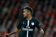 Neymar of PSG in action during the Group C match of the UEFA Champions League between Liverpool and Paris Saint-Germain at Anfield on September 18, 2018 in Liverpool, United Kingdom.