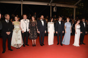 "Angeliki Papoulia,John C. Reilly,Ariane Labed,Yorgos Lanthimos,Rachel Weisz,Colin Farell,Lea Seydoux,Jessica Barden and Ben Whishaw attend the Premiere of ""The Lobster"" during the 68th annual Cannes Film Festival on May 15, 2015 in Cannes, France."