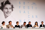 "(L-R) Actress Angeliki Papoulia, actor John C. Reilly, actress Lea Seydoux, actor Colin Farrell, director Yorgos Lanthimos, actress Rachel Weisz and actress Ariane Labed attend the ""The Lobster"" press Conference during the 68th annual Cannes Film Festival on May 15, 2015 in Cannes, France."