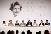 "(L-R) Actress Angeliki Papoulia, actor John C. Reilly, actress Lea Seydoux, actor Colin Farrell, director Yorgos Lanthimos, actress Rachel Weisz, actress Ariane Labed, and actor Ben Whishaw attend the ""The Lobster"" press Conference during the 68th annual Cannes Film Festival on May 15, 2015 in Cannes, France."
