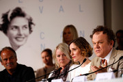"Actress Angeliki Papoulia and actor John C. Reilly attend the ""The Lobster"" press Conference during the 68th annual Cannes Film Festival on May 15, 2015 in Cannes, France."