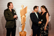 (L-R) General Manager Jaeger-LeCoultre Northern Europe Juergen Bestian, Jan Josef Liefers and Katy Karrenbauer attend the nominee dinner for the German Film Award 2015 Lola (Deutscher Filmpreis) at  on May 30, 2015 in Berlin, Germany.