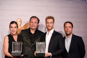 (L-R) Katy Karrenbauer, General Manager Jaeger-LeCoultre Northern Europe Juergen Bestian, Alexander Fehling and Jan Josef Liefers attend the nominee dinner for the German Film Award 2015 Lola (Deutscher Filmpreis) at  on May 30, 2015 in Berlin, Germany.