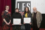Jane Roscoe (LFS Director), Abi Morgan, Elizabeth Karlsen and Mike Leigh attend The London Film School Annual Show  at Barbican Centre on December 14, 2015 in London, England.