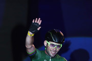 Mark Cavendish of Great Britain waves to the crowd after winning the  10km Scratch Race on Day 4 of the London Six Day Race and the Lee Valley Velopark, London on October 27, 2017 in London, England.