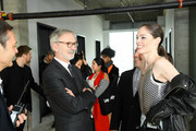 Jean Cassegrain (L) and Coco Rocha attend the Longchamp Fall/Winter 2020 Runway Show at Hudson Commons on February 08, 2020 in New York City.