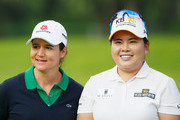 Tournament host Lorena Ochoa of Mexico (L) waits with Inbee Park of South Korea on the 18th green after the final round of the Lorena Ochoa Invitational Presented By Banamex at the Club de Golf Mexico on November 15, 2015 in Mexico City, Mexico..