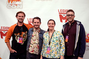 (L-R) Josh Waller, Elijah Wood, Lisa Whalen, and Daniel Noah attend Los Angeles Comic Con at Los Angeles Convention Center on October 27, 2018 in Los Angeles, California.