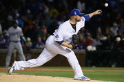 Starting pitcher Jon Lester #34 of the Chicago Cubs delivers the ball against the Los Angeles Dodgers during the home opening game  at Wrigley Field on April 10, 2017 in Chicago, Illinois.