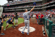 Chase Utley #26 of the Los Angeles Dodgers acknowledges the fans for supporting him during his career as a Philadelphia Phillie after a game against the Philadelphia Phillies at Citizens Bank Park on July 25, 2018 in Philadelphia, Pennsylvania. The Phillies won 7-3.