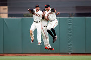 Gregor Blanco #7 of the San Francisco Giants, Denard Span #2 and Hunter Pence celebrate after the game against the Los Angeles Dodgers at AT&T Park on April 7, 2016 in San Francisco, California. The San Francisco Giants defeated the Los Angeles Dodgers 12-6.