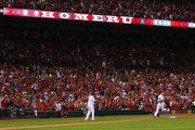Matt Holliday #7 of the St. Louis Cardinals rounds the bases after hitting a two-run home run in the fifth inning against the Los Angeles Dodgers at Busch Stadium on July 18, 2014 in St. Louis, Missouri.  The Cardinals beat the Dodgers 3-2.