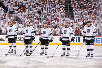Mike Richards Dustin Penner Los Angeles Kings v Phoenix Coyotes - Game One