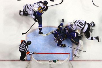 Mike Richards Jeff Carter Los Angeles Kings v St Louis Blues - Game One