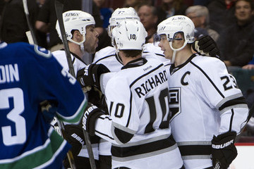 Mike Richards Jeff Carter Los Angeles Kings v Vancouver Canucks - Game One